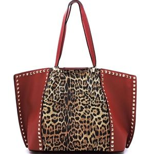 Leopard Red Colorblock Gold Stud 2 pc Tote Bag
